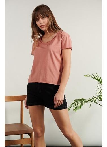 Levure Pamuklu T-Shirt  Pembe